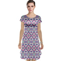 Colorful Folk Pattern Cap Sleeve Nightdress
