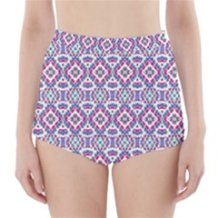 Colorful Folk Pattern High Waisted Bikini Bottoms