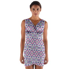 Colorful Folk Pattern Wrap Front Bodycon Dress
