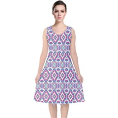 Colorful Folk Pattern V Neck Midi Sleeveless Dress