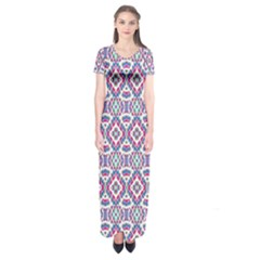 Colorful Folk Pattern Short Sleeve Maxi Dress