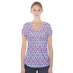 Colorful Folk Pattern Short Sleeve Front Detail Top
