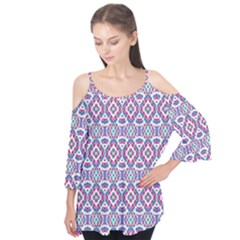 Colorful Folk Pattern Flutter Tees