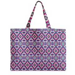 Colorful Folk Pattern Zipper Medium Tote Bag