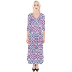 Colorful Folk Pattern Quarter Sleeve Wrap Maxi Dress