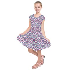 Colorful Folk Pattern Kids  Short Sleeve Dress