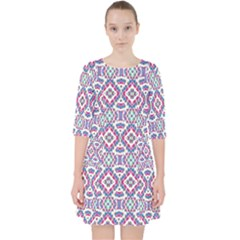 Colorful Folk Pattern Pocket Dress