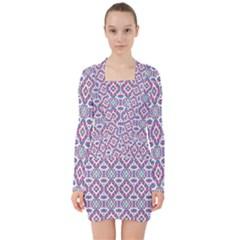 Colorful Folk Pattern V Neck Bodycon Long Sleeve Dress