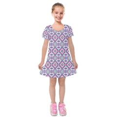 Colorful Folk Pattern Kids  Short Sleeve Velvet Dress