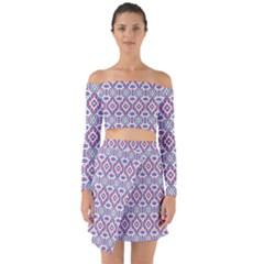 Colorful Folk Pattern Off Shoulder Top With Skirt Set