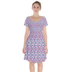 Colorful Folk Pattern Short Sleeve Bardot Dress