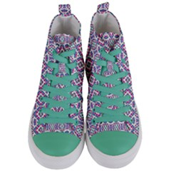 Colorful Folk Pattern Women s Mid Top Canvas Sneakers