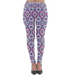 Colorful Folk Pattern Lightweight Velour Leggings