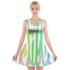 Genius Funny Typography Bright Rainbow Colors V Neck Sleeveless Dress