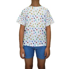 Dotted Pattern Background Brown Kids  Short Sleeve Swimwear