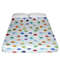 Dotted Pattern Background Brown Fitted Sheet (king Size)