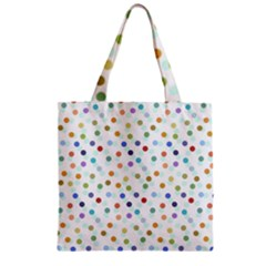 Dotted Pattern Background Brown Zipper Grocery Tote Bag