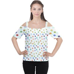 Dotted Pattern Background Brown Cutout Shoulder Tee