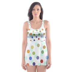 Dotted Pattern Background Brown Skater Dress Swimsuit