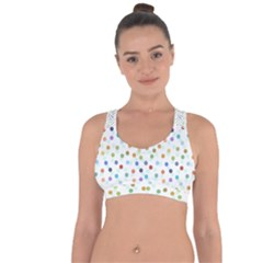 Dotted Pattern Background Brown Cross String Back Sports Bra