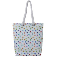 Dotted Pattern Background Brown Full Print Rope Handle Tote (small)