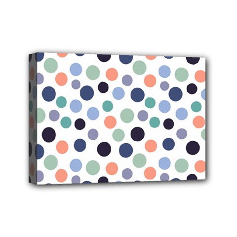 Dotted Pattern Background Blue Mini Canvas 7  X 5  by Modern2018