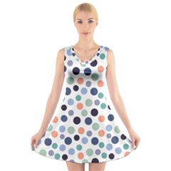 Dotted Pattern Background Blue V Neck Sleeveless Dress