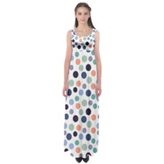 Dotted Pattern Background Blue Empire Waist Maxi Dress