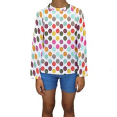 Dotted Pattern Background Kids  Long Sleeve Swimwear