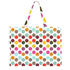 Dotted Pattern Background Zipper Large Tote Bag