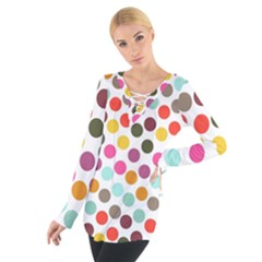 Dotted Pattern Background Tie Up Tee