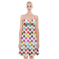 Dotted Pattern Background Spaghetti Strap Velvet Dress
