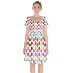 Dotted Pattern Background Short Sleeve Bardot Dress