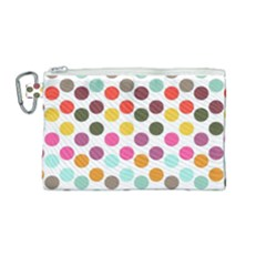 Dotted Pattern Background Canvas Cosmetic Bag (medium) by Modern2018