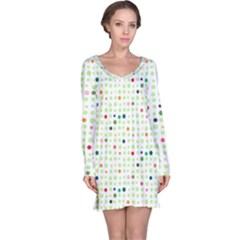 Dotted Pattern Background Full Colour Long Sleeve Nightdress