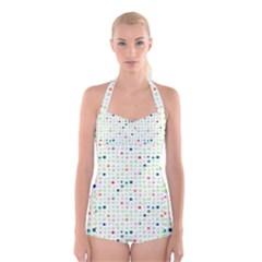 Dotted Pattern Background Full Colour Boyleg Halter Swimsuit
