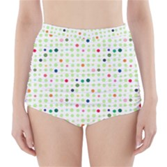 Dotted Pattern Background Full Colour High Waisted Bikini Bottoms