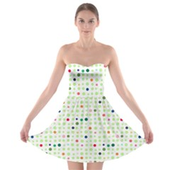 Dotted Pattern Background Full Colour Strapless Bra Top Dress