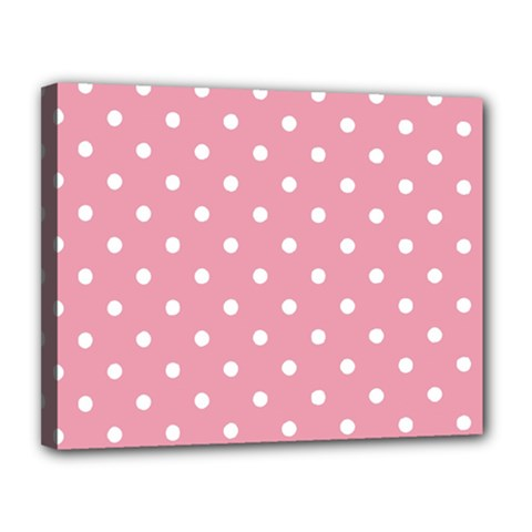 Pink Polka Dot Background Canvas 14  X 11