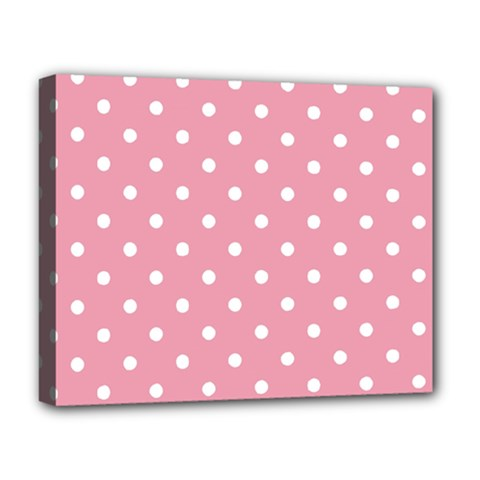 Pink Polka Dot Background Deluxe Canvas 20  X 16   by Modern2018