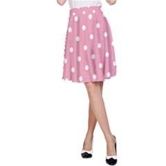 Pink Polka Dot Background A Line Skirt