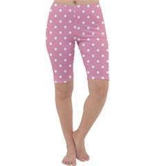 Pink Polka Dot Background Cropped Leggings