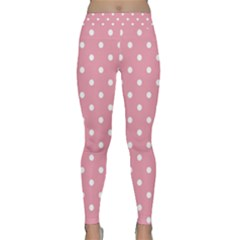 Pink Polka Dot Background Classic Yoga Leggings