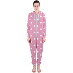 Pink Polka Dot Background Hooded Jumpsuit (ladies)