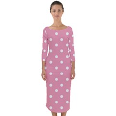 Pink Polka Dot Background Quarter Sleeve Midi Bodycon Dress
