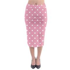 Pink Polka Dot Background Midi Pencil Skirt