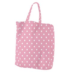 Pink Polka Dot Background Giant Grocery Zipper Tote by Modern2018