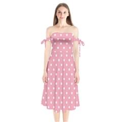 Pink Polka Dot Background Shoulder Tie Bardot Midi Dress