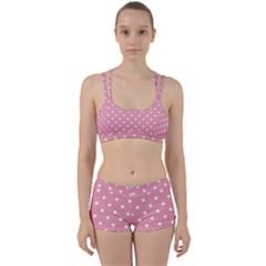 Pink Polka Dot Background Women s Sports Set