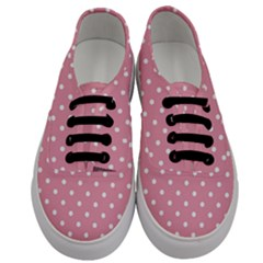 Pink Polka Dot Background Men s Classic Low Top Sneakers